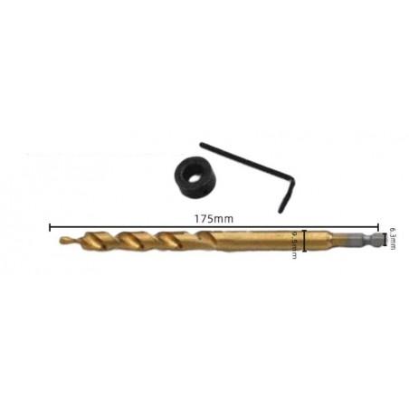 Broca bidiametral para plantillas de tornillos para tablas de madera en carpintería